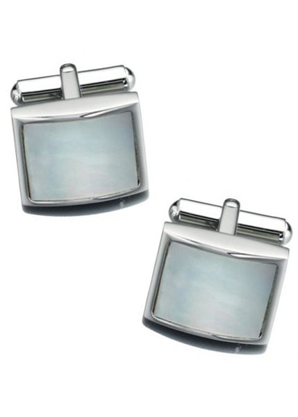 Fred Bennett Stainless Steel White Mother Of Pearl Cufflinks