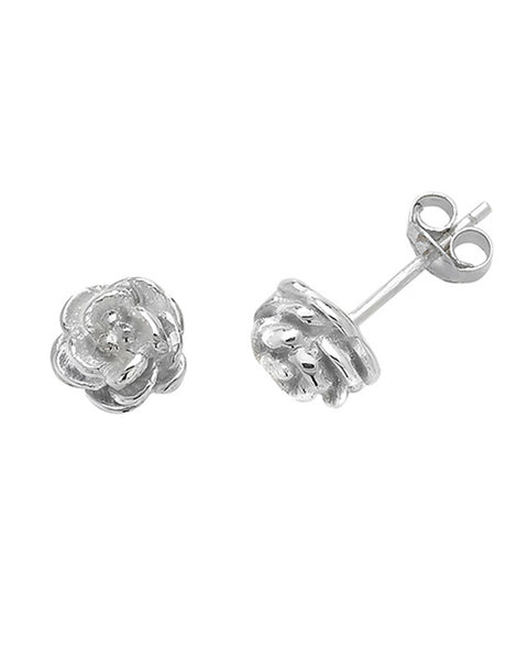 Solid Silver Rose Stud Earrings
