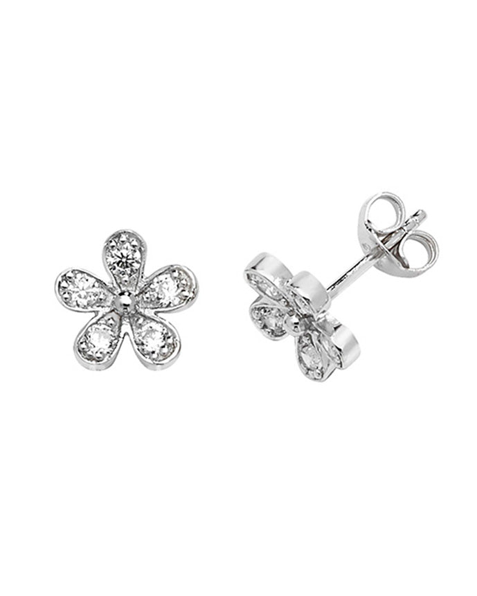 Solid Silver & Cubic Zirconia Daisy Stud Earrings