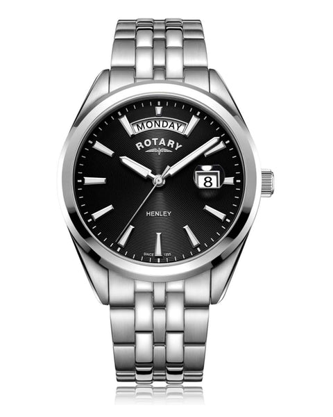 Rotary Gents Henley Black Dial Stainless Steel Watch