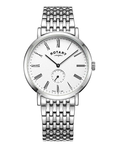 Rotary Gents White Windsor Offset Watch