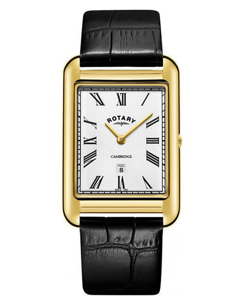 Rotary Gents Cambridge Gold Plated Rectangle Watch