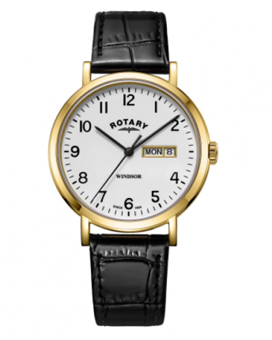 Rotary Gents White Windsor Gold Plated Watch