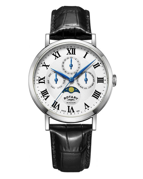 Rotary Gents White Windsor Multifunction Watch