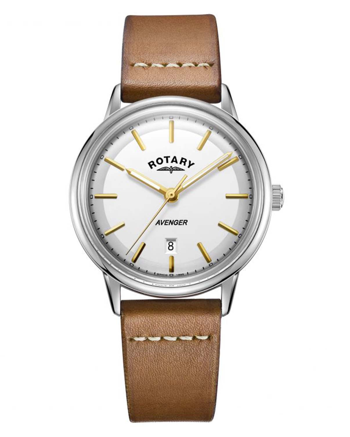 Rotary Gents Avenger Brown Leather Strap Watch
