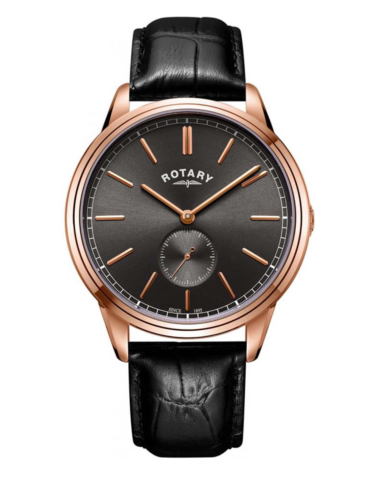 Rotary Gents Rose Gold Plated Cambridge Offset Watch
