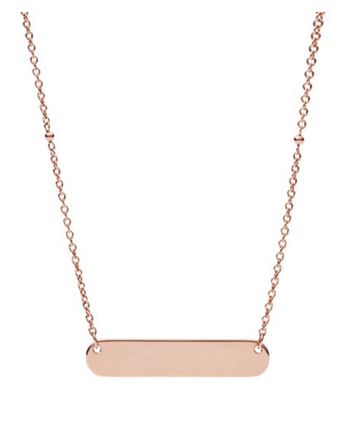 Fossil Rose Gold-Tone Plaque Necklace