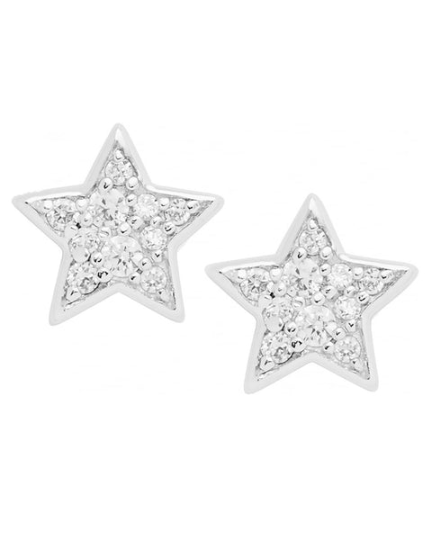 Fossil Sterling Silver Glitz Star Stud Earrings
