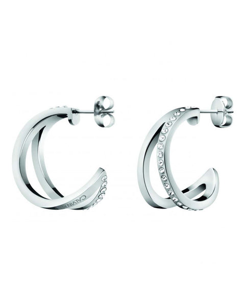 Calvin Klein Ladies Outline Steel & Zirconia Earrings