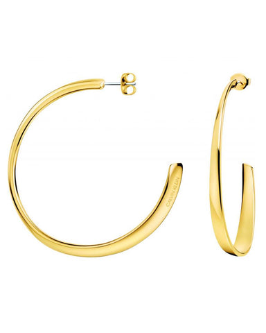 Calvin Klein Ladies Groovy Gold Plated Hoop Earrings
