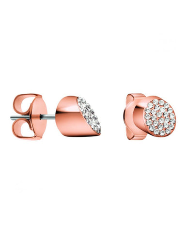 Calvin Klein Ladies Brilliant Rose Gold Plated Zirconia Earrings