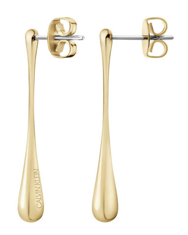 Calvin Klein Ladies Ellipse Gold Plated Earrings