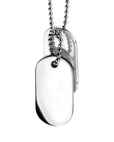 Fred Bennett Stainless Steel Mens Oval Dogtags Pendant - N2686