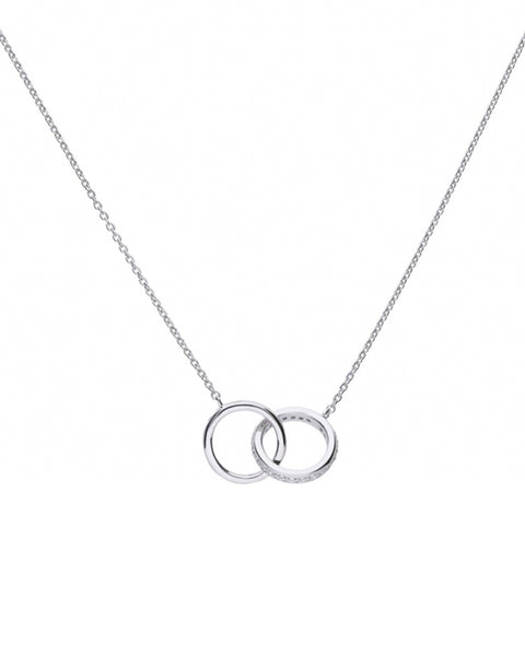 Diamonfire Silver & Cubic Zirconia Interlocking Circles Necklace