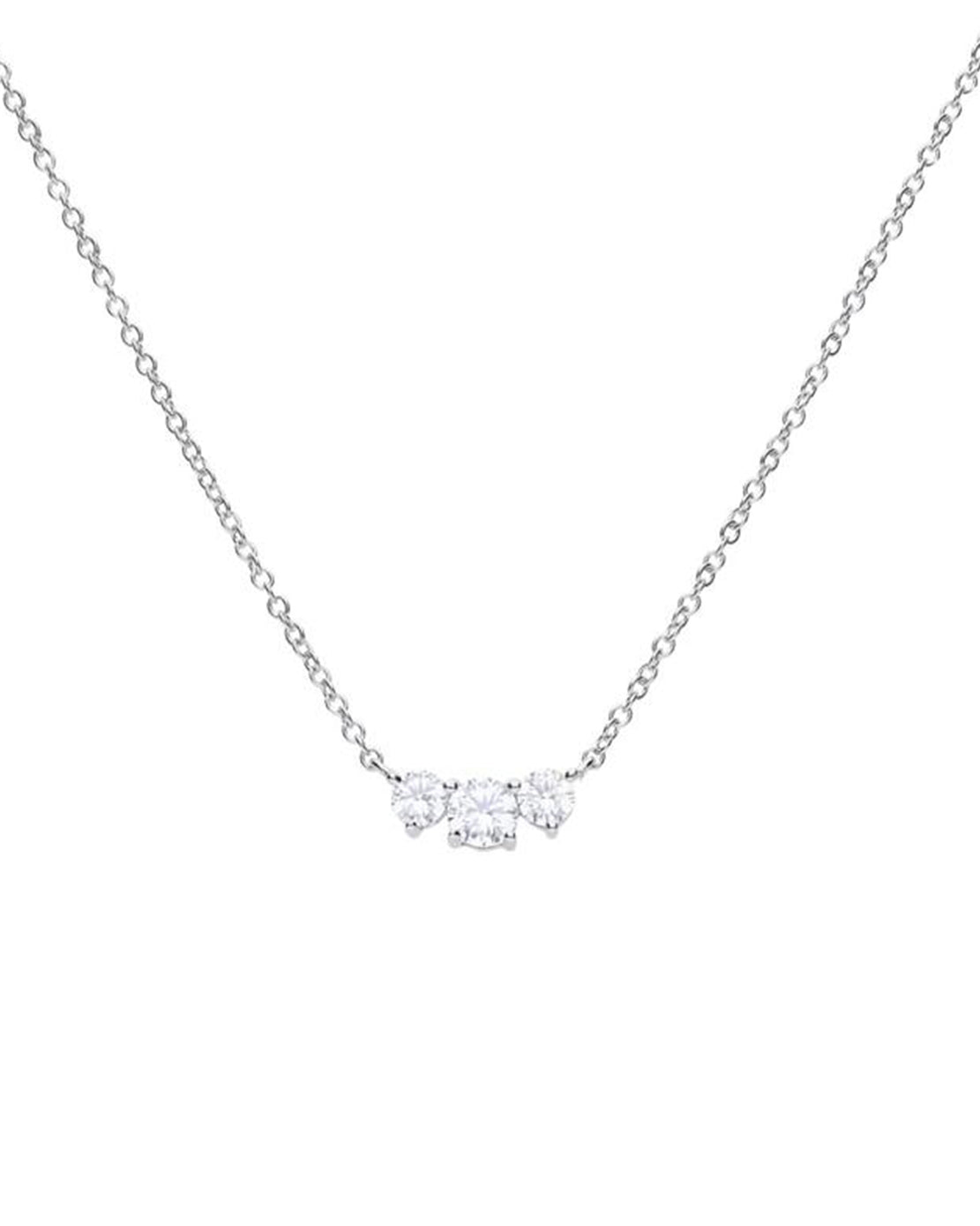 Diamonfire Sterling Silver & Cubic Zirconia 3-stone Necklace