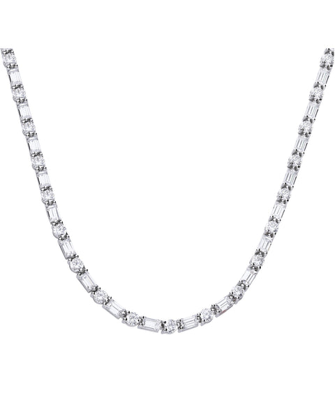 Diamonfire Round & Baguette CZ Full Tennis Necklace