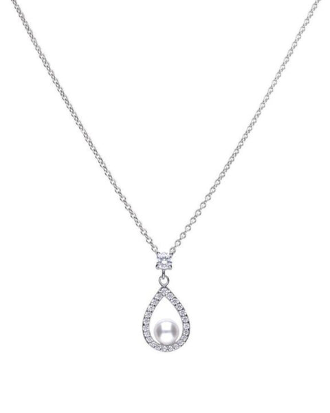 Diamonfire Silver, Cubic Zirconia & Freshwater Pearl Pendant