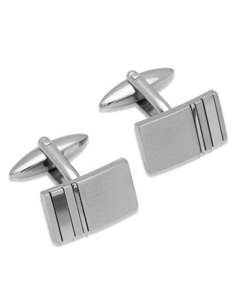 Unique Mens Stainless Steel Rectangular Cufflinks