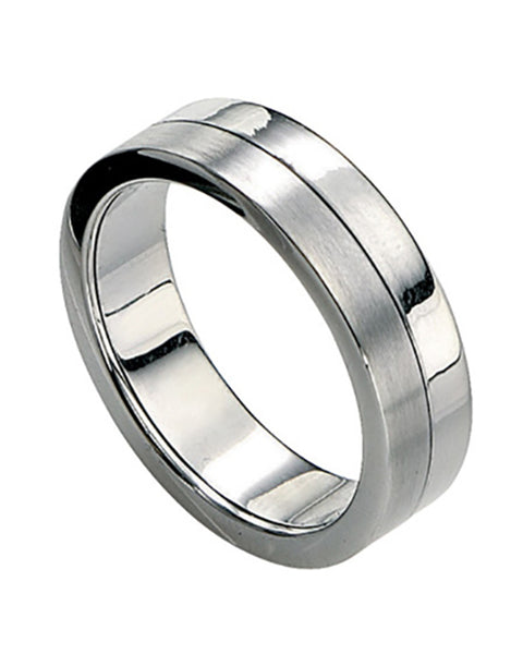 Fred Bennett Polished & Brushed Steel Ring