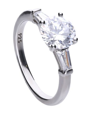 Diamonfire Silver & Cubic Zirconia Baguette Trilogy Ring