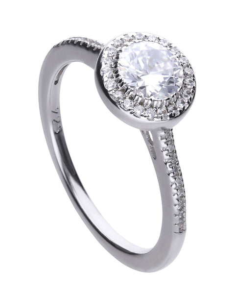 Diamonfire Silver & Round Cubic Zirconia Halo Ring