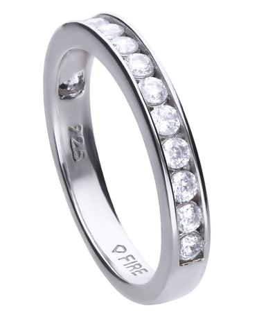 Diamonfire Sterling Silver & Channel Set Cubic Zirconia Ring