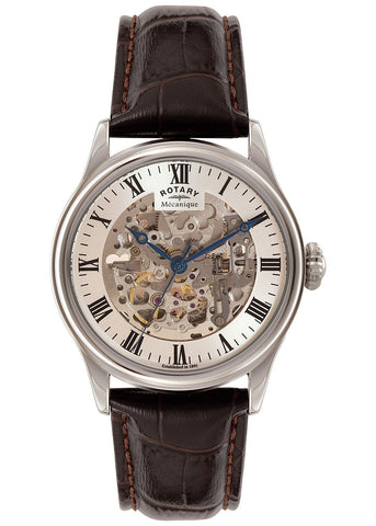 Rotary stainless steel skeleton watch - GS02940/06