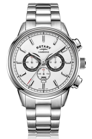 Rotary Gents White Cambridge Chronograph Watch GB05395/02