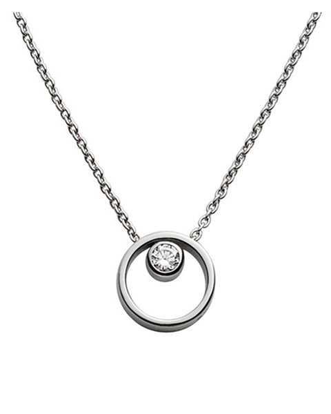 Skagen Elin Crystal Circle Stainless Steel Necklace