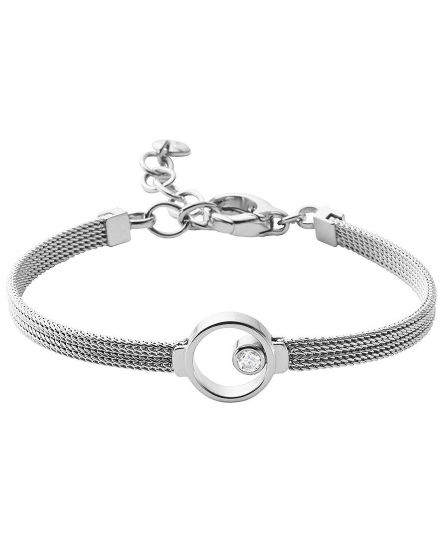 Skagen Elin Crystal Circle Stainless Steel Bracelet