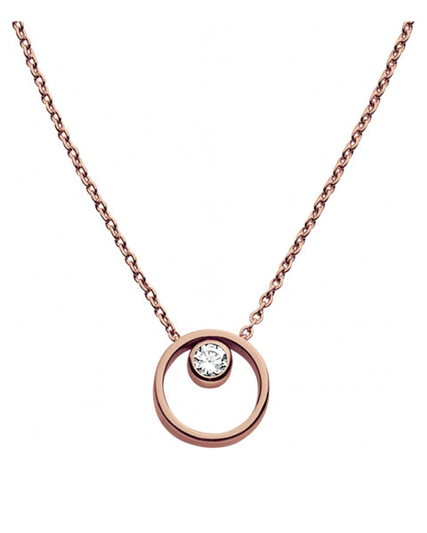 Skagen Elin Crystal Circle Rose Gold Plated Necklace