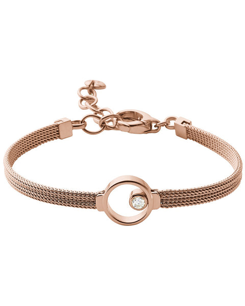 Skagen Elin Crystal Circle Rose Gold Plated Bracelet