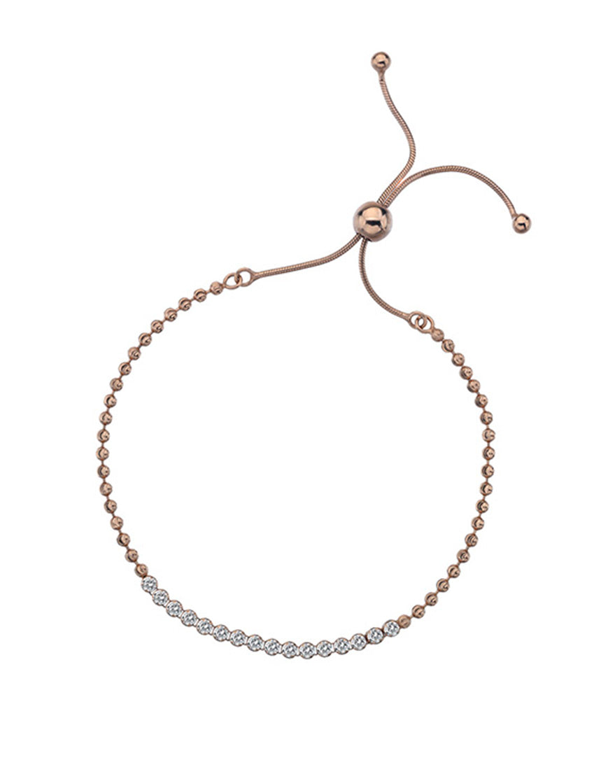 Rose Gold Plated Silver Adjustable CZ Tennis Bracelet