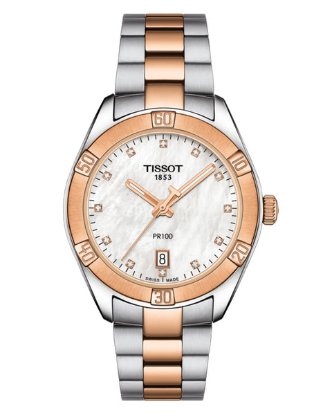 Tissot PR 100 Sport Chic Ladies Two-Tone Watch