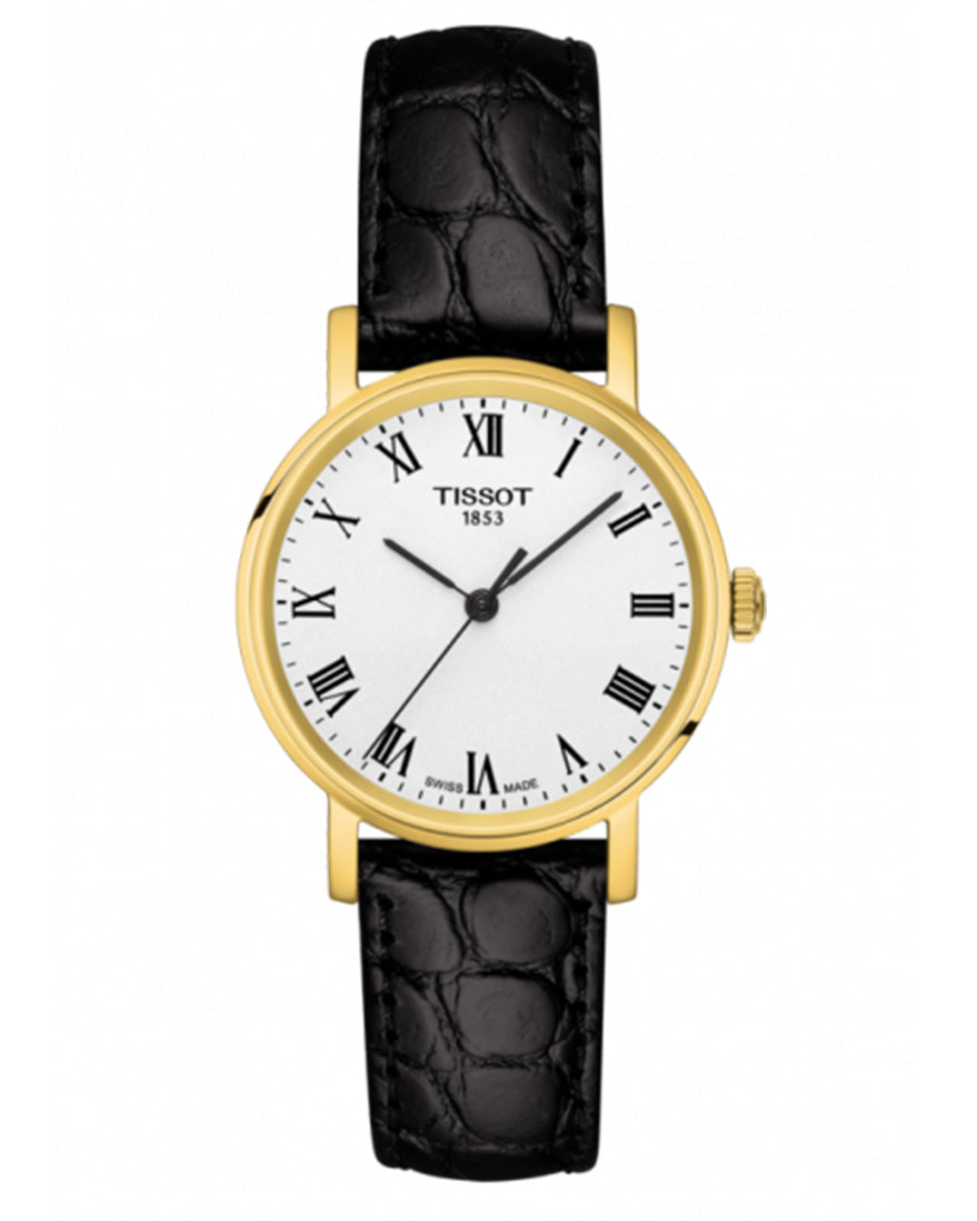 Tissot Everytime Small Ladies Gold Plated Leather Strap Watch