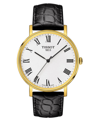 Tissot Everytime Medium Gents Gold Plated Leather Strap Watch
