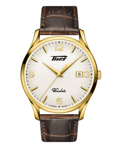 Tissot Heritage Visodate Gents Gold Plated Leather Strap Watch