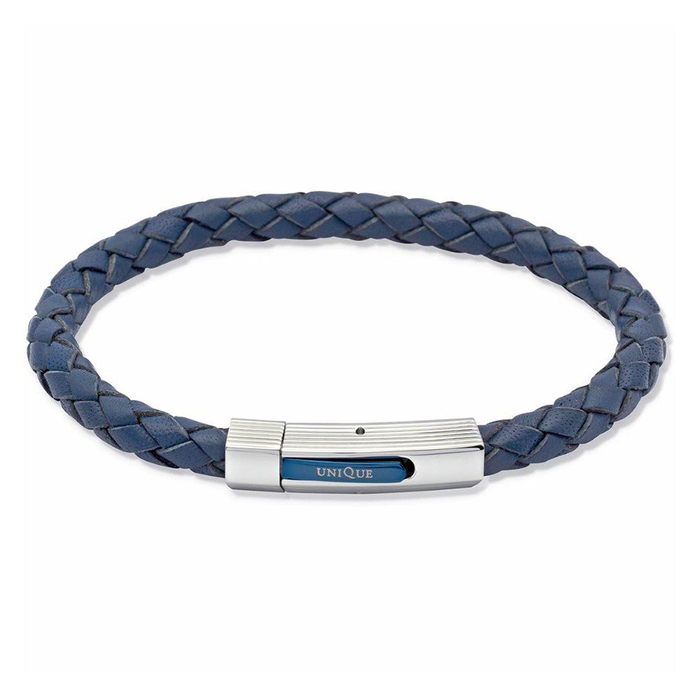 Unique Mens Blue Leather Bracelet With Steel Clasp And Blue Plating - B176BLUE