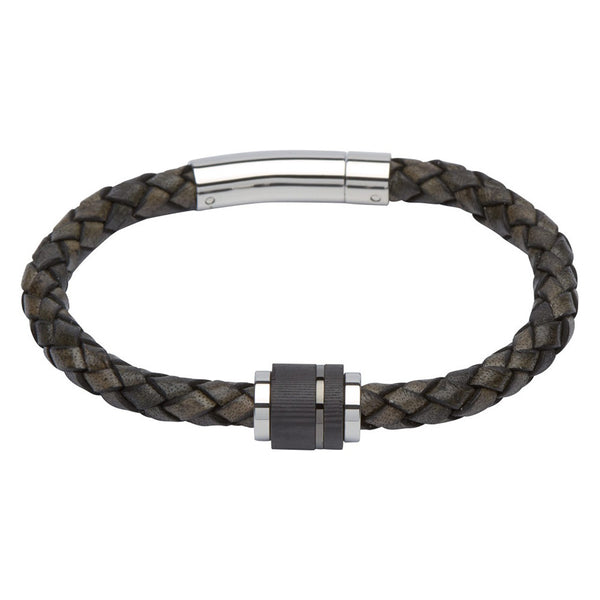 Unique Mens Antique Black Leather Bracelet With Carbon Clasp & Gun Metal Plating - B276ABL
