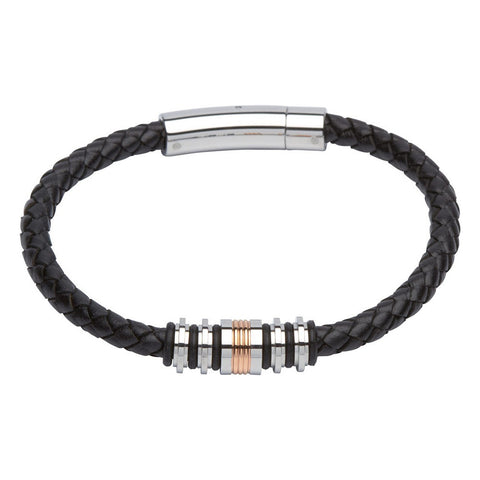 Unique Mens Black Leather Bracelet With Steel Clasp And Rose Plating - B283RO
