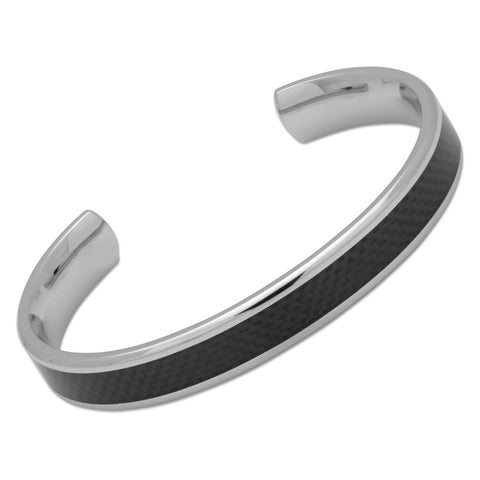 Unique Mens Stainless Steel Bangle With Carbon Fibre Inlay - QB-90/L