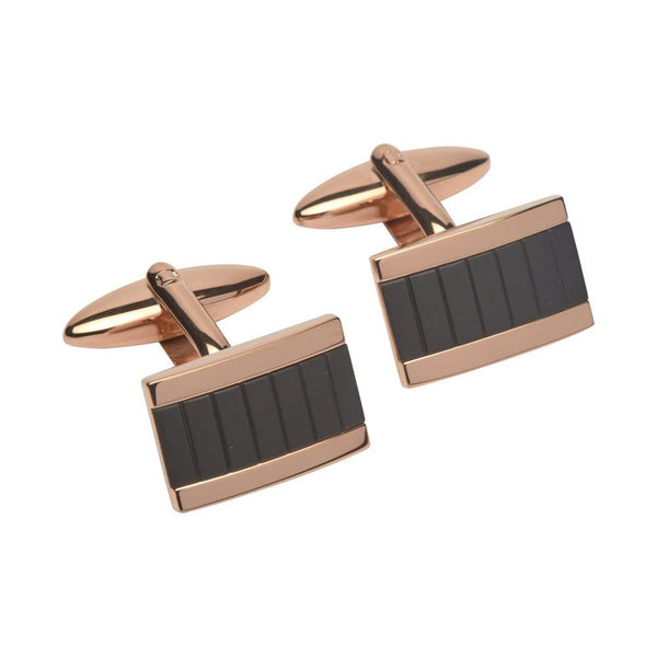 Unique Mens Stainless Steel Cufflinks With Rose And Black Plating - QC-197