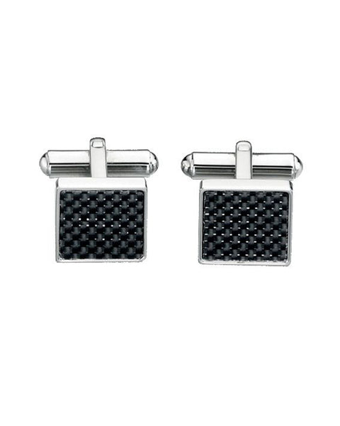 FRED BENNETT BLACK CARBON FIBRE STAINLESS STEEL CUFFLINKS - V421