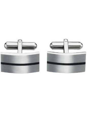 FRED BENNETT STAINLESS STEEL BLACK ENAMEL LINE CUFFLINKS - V424