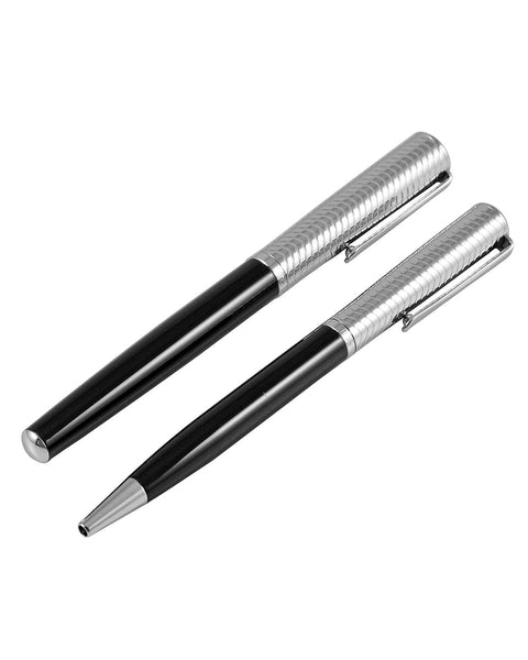 Jos Von Arx Black & Silver Wave Pattern Pen Set