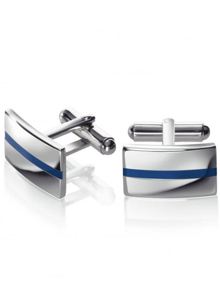 Fred Bennett Stainless Steel With Blue Enamel Line Cufflinks - v440
