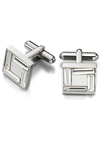 Fred Bennett Stainless Steel Swarovski Clear Crystal Cufflinks - V489