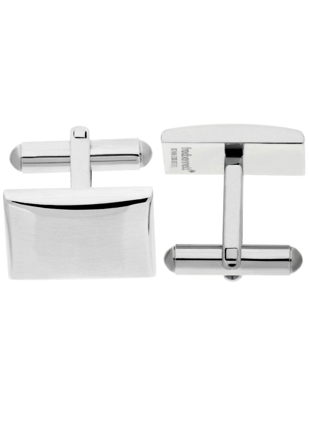 FRED BENNETT STAINLESS STEEL RECTANGLE CUFFLINKS - V509