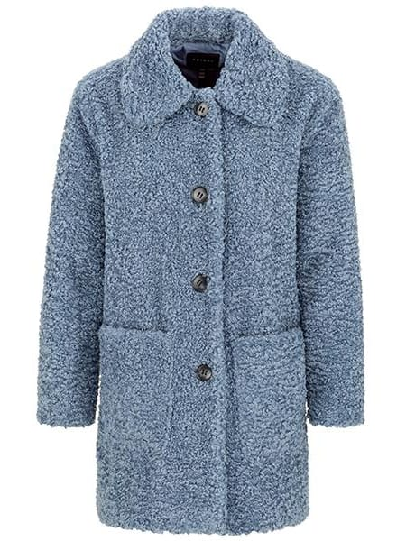 Lined Faux Sherpa Coat Blue