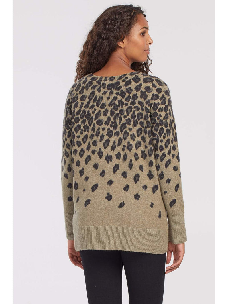 Animal Print Sweater Mosstone